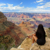 Curtin student, Lauren Stepanovski looking over the grand canyon